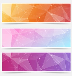 Web shining crystal structure banner headers vector