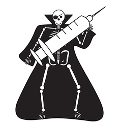 Human skeleton with syringe halloween vector