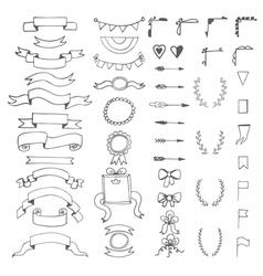 Set of hand drawn decorative elements Wedding vector image