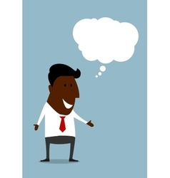 Happy black businessman with speech bubble vector