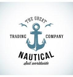 Simple anchor retro logo template for any kind of vector