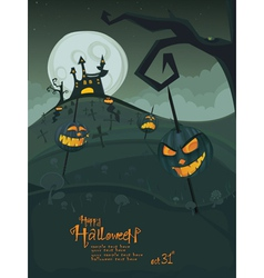 halloween green template vector image
