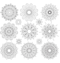 Set of Round Ornament Patterns vector image