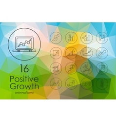 Set of positive growth icons vector