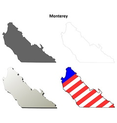 Monterey county california outline map set vector