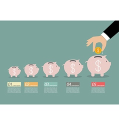 Step of business hand insert coin into the piggy vector