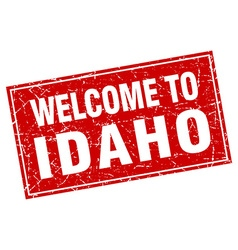 Idaho red square grunge welcome to stamp vector