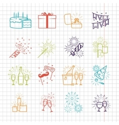 Celebration line icons with drinks garland and vector