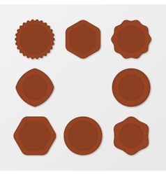 Set of brown stamps distressed stamp texture vector