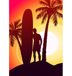 Surfing guy with surfboard and palm trees vector