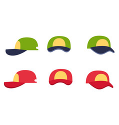 baseball cap collection front back and side view vector image