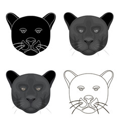 Black panther icon in cartoon style isolated on vector