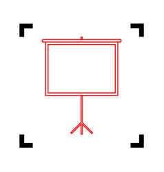 blank projection screen red icon inside vector image vector image