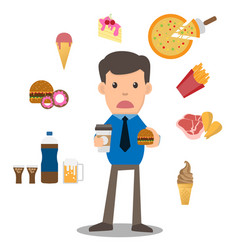 Business man unhappy hungry bearded man eating vector