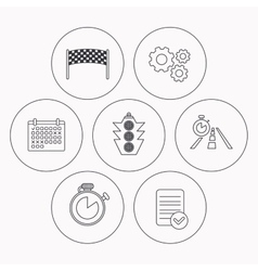 Checkpoint traffic lights and timer icons vector image