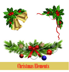 decorative elements with christmas evergreen set vector image