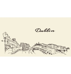Dublin skyline hand drawn sketch vector image