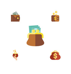 flat icon purse set of payment pouch saving and vector image vector image