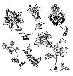 Flower branches black outline set vector