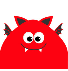 Funny monster head with big eyes fang tooth and vector