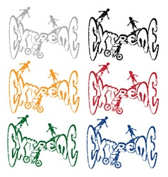 Grunge extreme sport cartoon silhouettes set vector