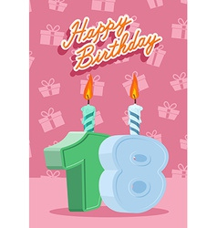 Happy birthday age 18 announcement and celebration vector