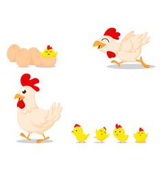 Happy cartoon chicken family vector