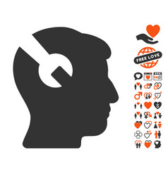 Head surgery wrench icon with love bonus vector