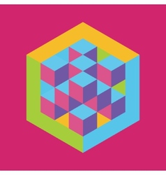 Hexagon shape with cubes inscribed vector