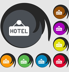 hotel icon sign Symbols on eight colored buttons vector image