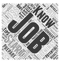How to Prepare for a Potential Job Loss Word Cloud vector image