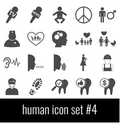 human icon set 4 gray icons on white background vector image