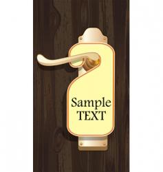 label on door handle vector image vector image