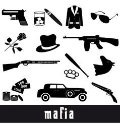 Mafia criminal black symbols and icons set eps10 vector
