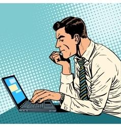 man working laptop vector image