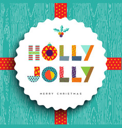 Merry Christmas happy card design in fun colors vector image vector image