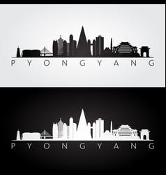 Pyongyang skyline and landmarks silhouette vector