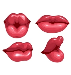 Set female lips kiss vector image