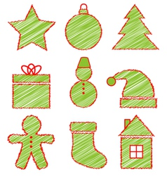 Set of Christmas icons on white vector image