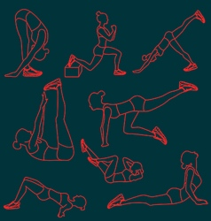 Set of exercises poses for women vector