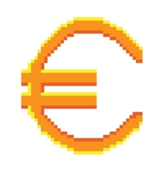 Sign pixel euro gold 708 vector image vector image