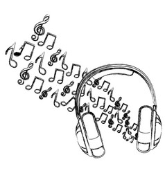 symbol of music and headphone icon vector image