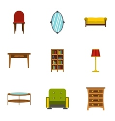 Type of furniture icons set flat style vector image