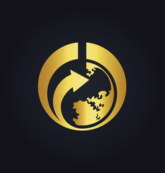 World earth arrow gold logo vector