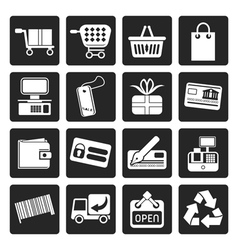 Black Simple Online Shop icons vector image