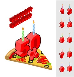 Discounts for birthday when buying pizza candles vector
