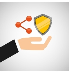 hand hold protected concept share shield vector image