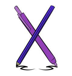 Pen and pencil icon cartoon vector