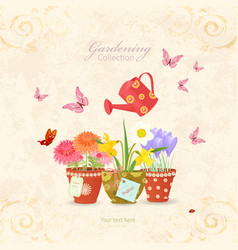 Spring flowers planted in ethnic flowerpots with vector