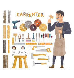 carpenter elements collection vector image